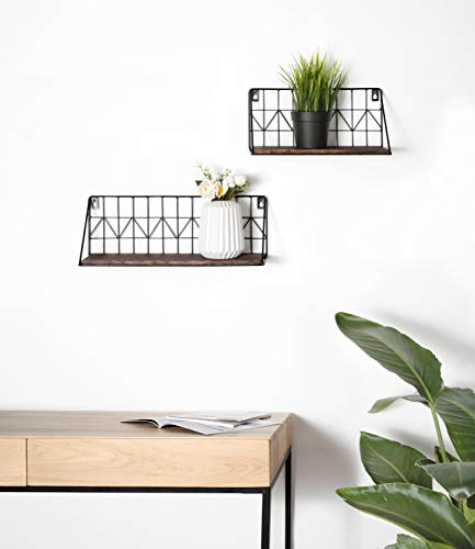 floating geometric shelves - modern boho living room