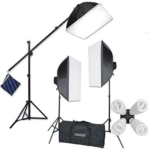 StudioFX H9004SB2 2400 Watt Large Photography Softbox Continuous Photo Lighting Kit 16″ x 24″ + Boom Arm Hairlight with Sandbag H9004SB2 by Kaezi