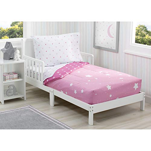 Delta Children Toddler Bedding Set | Girls 4 Piece Collection | Fitted Sheet, Flat Top Sheet w/Elastic Bottom, Fitted…