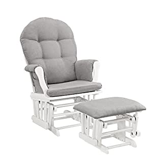 "This ""Windsor Glider with Ottoman"" is the perfect product to complete your nursery. It has enclosed metal bearings for smooth gliding motion, generous seating room with padded arms and pockets for extra storage."