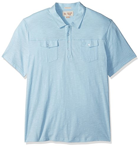 41J0CUFWBjL Men's short sleeve casual polo shirt with 4-button placket Heritage slim fit - slim cut through chest, waist and arms Double pockets on the chest with button detail