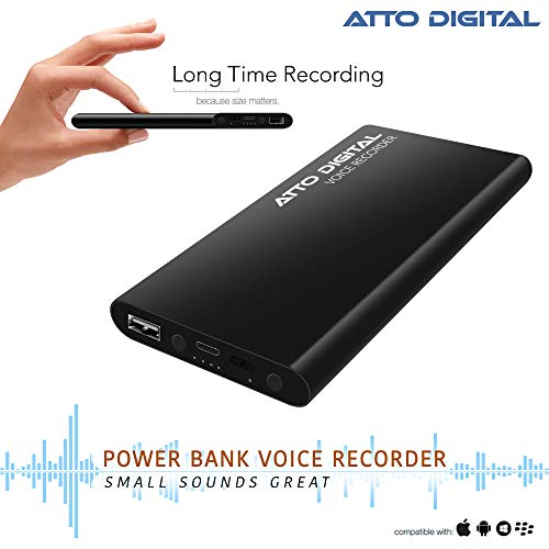 Voice Activated Recorder with Great Battery Life for 15 Days Recording, 94 Hours MP3 Audio Recordings Capacity, Functional Portable Charging Device   powerREC by aTTo Digital