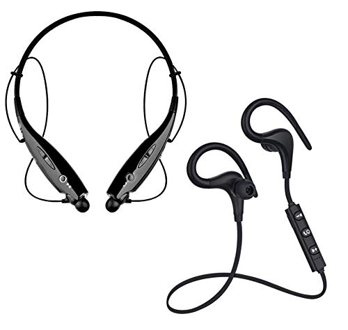 GO SHOPS Best Wireless Neckband Headset with Fast Charging & Mic, IPX5 Sweatproof with Deep Bass Headphones. with HBS 730 Wireless Neckband Bluetooth Headset Sports Running, for All Android