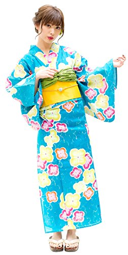 Kimura Jitsugyo Women's Kyoto Traditional Easy Wearing Kawaii Yukata Robe(Japanese Casual Kimono) Full Set 4 Pastel & Apricot18 Woman