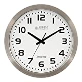 La Crosse Technology 16 Inch Stainless Steel Atomic Clock - White Dial 16' Metal Frame