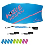 Own the Wave 37' Bodyboard for Kids and Adults - HDPE Slick Bottom & EPS Core - Lightweight Bodyboard for Beach and Surfing - Comes with Coiled Wrist Leash and Swim Fin Leash (Blue/Magenta)