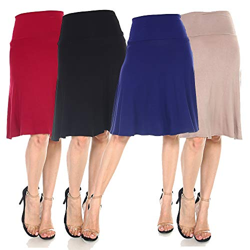4 Pack of Women's Midi A-Line Basic Skirts – Solid with Fold Over Waist Band Flare Design 14 Fashion Online Shop gifts for her gifts for him womens full figure
