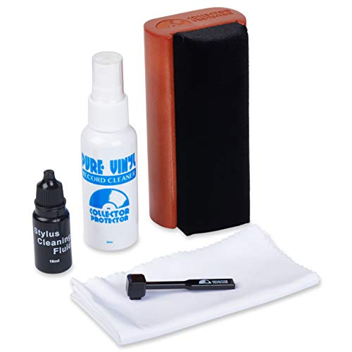 Collector Protector 5-in-1 Vinyl Record Cleaning Kit. Includes Soft Velvet Record Brush, Pure Vinyl Cleaning Solution, Stylus Cleaner & Brush, Microfiber Cloth & Storage Pouch