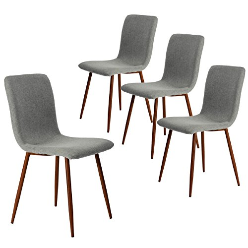 Coavas Set of 4 Kitchen Dining Chairs, Assemble All 4 in 5 Minutes, Fabric Cushion Side Chairs with Sturdy Metal Legs for Home Kitchen Living Room, Grey SCAR-20