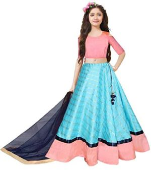 HRK FASHION Girls' Satin Lehenga Choli