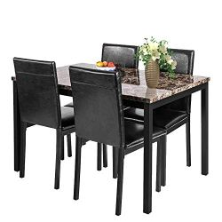 MIERES Chairs for 4 Faux Marble,Dining Table Set, Perfect for Kitchen, Breakfast Nook, Living Room, Black