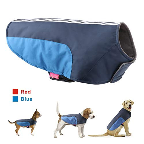 Idepet Dog Pet Winter Coat Warm Vest Clothes Apparel Doggy Puppy Cold Weather Jacket Hoodie for Small Medium Large Dogs Cats (S, Blue)