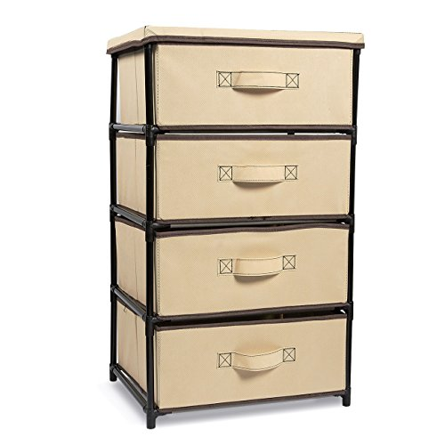 Juvale 4-Layered Storage Bin Cabinet Drawer for Clothing, Underwear, Documents, Household Objects - Brown, 16.5 x 13 x 33 inches