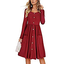ECHOINE Women's Summer Dresses, Floral Boho Spaghetti Strap Button Down Swing Midi Beach Dress with Pockets title