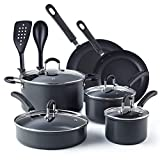 Cook N Home 02597 Black 12-Piece Nonstick Hard Anodized Cookware Set,