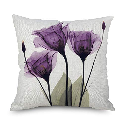 Throw Pillow Cover Decorative Durable Cushion Cover 18 x 18 Pillow Case Beautiful Flowers Tulip Watercolor Vibrant Purple Color Hidden Zipper Home Decor Fall Winter Sofa Couch Bedroom Living Room