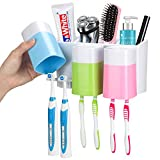 iHave Toothbrush Holder Wall Mount 3 Cups Electric Toothbrush Storage Set- No Drill or Nail Needed (3 Color Toothbrush Holder)