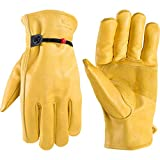 Men's Leather Work Gloves with Adjustable Wrist, Large (Wells Lamont 1132L)