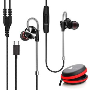 WeCool Mr.Bass W010 Metallic In-Ear Type C Earphones with Mic for Rich Bass and Noise Cancellation, Unique Design Sports USB Type C Earphone compatible with One Plus 7/ 7 Pro / 6T with free carry case(Black)