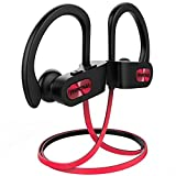 Mpow Flame Bluetooth Headphones Waterproof IPX7, Wireless Earbuds Sport, Richer Bass HiFi Stereo in-Ear Earphones w/Case, 7-9 Hrs Playback, Noise Cancelling Microphone (Comfy & Fast Pairing), Red