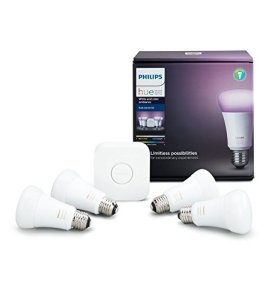 Philips Hue White and Color Ambiance A19 60W Equivalent LED Smart Light Bulb Starter Kit, 4 A19 Smart Bulbs and 1 Bridge, Works with Alexa, Apple HomeKit and Google Assistant (All U.S. Residents)