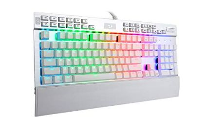 Redragon K550 Mechanical Gaming Keyboard, RGB LED Backlit with Brown Switches, Macro Recording, Wrist Rest, Volume Control, Full Size, Yama, USB Passthrough for Windows PC Gamer (White)