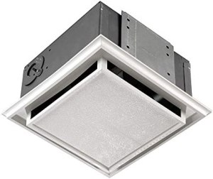 Broan-Nutone 682 Duct-Free Ventilation Fan, White Square Ceiling or Wall Exhaust Fan with Plastic Grille