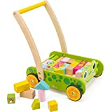 cossy Wooden Baby Learning Walker Toddler Toys 1 Year Old, Frog Blocks Roll Cart Push Pull Toy (34 pcs)