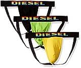 Diesel Men's Jocky 3 Pack Jockstraps, Black/Yellow, L