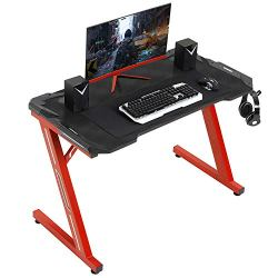 Sedeta Computer Gaming Desk, 44.5″ Gaming Table, Ergonomic Z-Shaped PC Gamer Table Desk Workstation with Headphone Hook, E-Sport Racing Home Office PC Desk, RED Legs