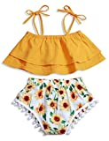 Baby Girl Clothes Sling Off Shoulder Top and Sunflower Tassel Short Summer Outfits Set 3-6Months Yellow