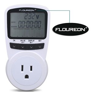 Floureon Power Meter US Scokrt Switch Energy Plug Energy Monitor LCD Display Daily Monthly Power Consumption Cost Watt Voltage Amp Meter Calculator Analyzer[Energy Class A+++]