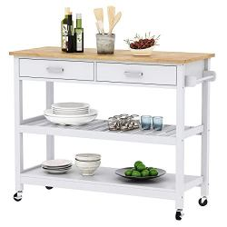 Clevr Rolling Kitchen Cart Island on Wheels Trolley, Cabinet w/Drawer, Shelves Storage Shelf, 100% Natural Rubberwood Top, White Colored