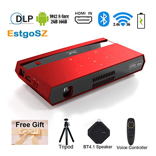 H96 Max Smart DLP Video Projector Mini Pico Portable Projector 150ANSI 4K 1080P Octa-core S912 2G 16G Android Projector with 200'' Display/HDMI in/2.4&5G WiFi/BT4.1/GooglePlay/Netflix/YouTube