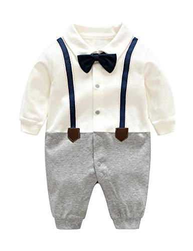 D.B.PRINCE Baby Boys Long Sleeves Gentleman Cotton Rompers Small Suit Bodysuit Outfit with Bow Tie (White+Navy, 0-3 Months)