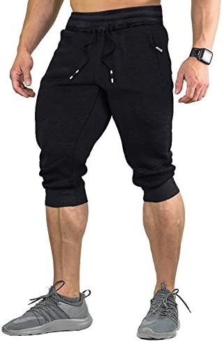 FASKUNOIE Men's Cotton Casual Shorts 3/4 Jogger Capri Pants Breathable Below Knee Home Lounge Short Pants with Three Pockets 1