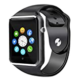 Sazooy Smart Watch, Bluetooth Touchscreen Smart Wrist Watch Smartwatch Phone Fitness Tracker with SIM SD Card Slot Camera Pedometer Compatible iOS iPhone Android Samsung for Women Kids Men (Black)