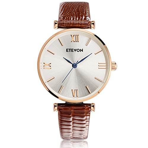 ♥Retro Classic Design : Rose gold metal round watch with silver polished plated dial featuring mazarine blue hands and simple roman numeral time markers. Perfect for business, casual, indoor activities and daily us ♥GIFT PACKAGE READY : Comes in an elegant gift box. No wrapping needed. Perfect gift for Mother's Day, Anniversary Day, Valentines Day and Birthday to your girlfriend, wife and mom ♥WATER RESISTANT FOR DAILY USE : 98FT(30M) water resistant, hand-wash, splashing and raining are all No Problem. NOTE: Please DO NOT PULL OUT the crown under water