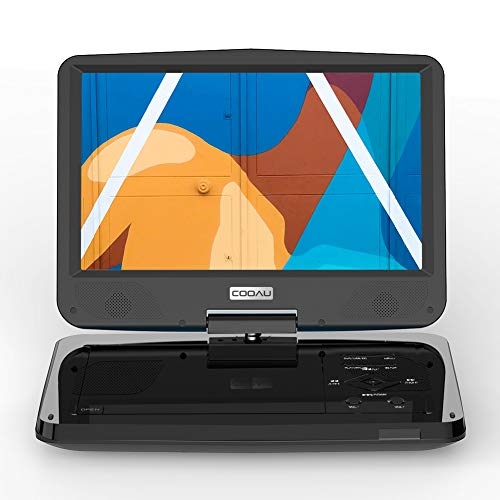 COOAU 12.5' Portable DVD Player with Eye Protection HD Swivel Screen, 5 Hours Rechargeable Battery, Dual Earphone Jacks, Support SD Card/USB, Last Memory Function, Region Free, Black
