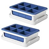 OXO Good Grips Silicone Stackable Ice Cube Tray with Lid - Large Cube (Set of 2)