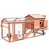 PawHut 98' Portable Wooden Chicken Coop with Wheels Outdoor Run and Nesting Box