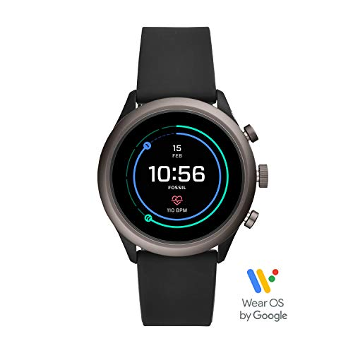 Fossil Men's Gen 4 Sport Heart Rate Metal and Silicone Touchscreen Smartwatch, Color: Grey, Black (FTW4019)