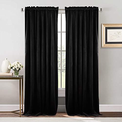 NICETOWN Bedroom Velvet Blackout Curtain Panels - Solid Heavy Matt Rod Pocket Drapes/Window Treatments (2 Pieces, 96 inch Long, Black)