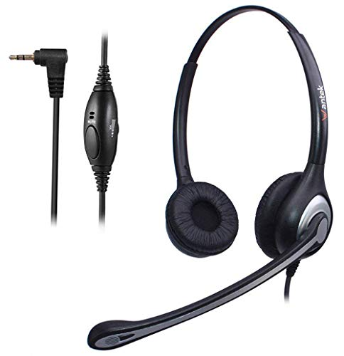 Wantek 2.5mm Telephone Headset Binaural with Noise Canceling Mic for AT&T ML17929 Panasonic Vtech RCA Uniden Cisco SPA Grandstream Polycom Clarity XLC3.4 Office IP and Cordless Dect Phones(F602J25)