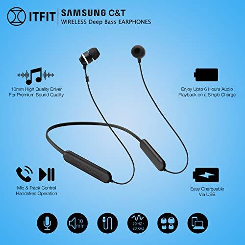 Samsung C&T ITFIT Bluetooth Wireless Earphone with Flexible Neck Band and handsfree Mic (GP-OAU019SABBI, Black) 6