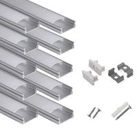 hunhun 10-Pack 3.3ft/1Meter U Shape LED Aluminum Channel System with Milky Cover, End Caps and Mounting Clips, Aluminum…