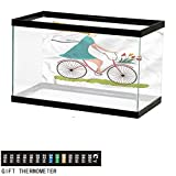 bybyhome Fish Tank Backdrop Bicycle,Woman on Bike Tulips,Aquarium Background,24' L X 16' H(61x41cm) Thermometer Sticker