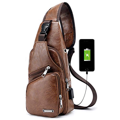 Men Shoulder Crossbody Sling Bag, PU Leather Chest Backpacks Crossbody Daypacks with USB Charging Port for Outdoor Activities (Light Brown) 1 Fashion Online Shop gifts for her gifts for him womens full figure