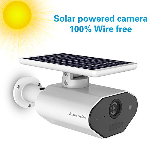 StartVision Solar Powered Wireless Home Security Camera, Outdoor 2.4GHz Wifi IP Camera with Motion Detection Night Vision, Wire-free Surveillance Camera Built in Battery, IP65 Waterproof Weatherproof