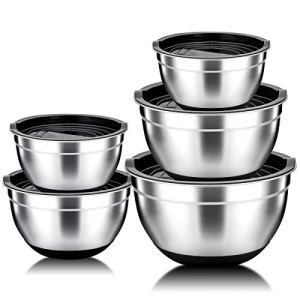 Mixing Bowls Set of 5, HaWare 100% Stainless Steel Nesting Bowls Set with Lids, Scale Marks & Silicone Bottom, Non Toxic & Thick, Mirror Finish & Dishwasher Safe – 5L/ 4L/ 3L/ 2L/ 1.5L 41K3gm 2BPmNL